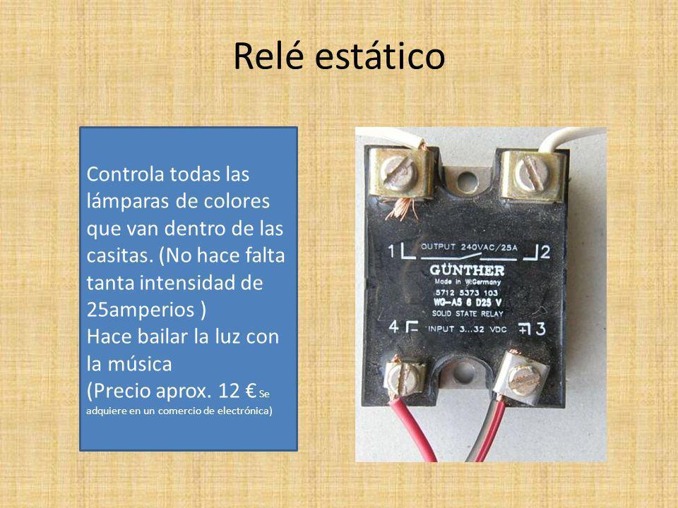 Relé estático Controla todas las lámparas de colores que van dentro de las casitas. (No hace falta tanta intensidad de 25amperios )