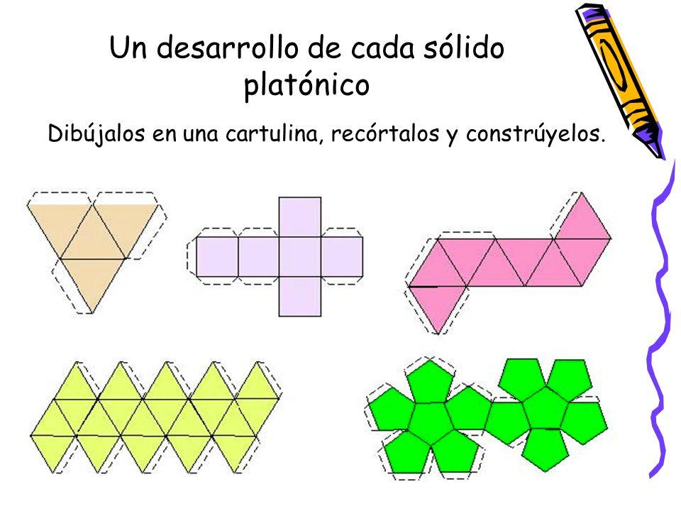 Un desarrollo de cada sólido platónico