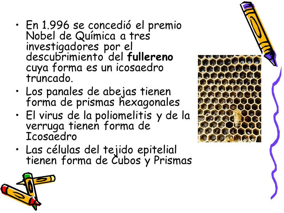 En 1.996 se concedió el premio Nobel de Química a tres investigadores por el descubrimiento del fullereno cuya forma es un icosaedro truncado.