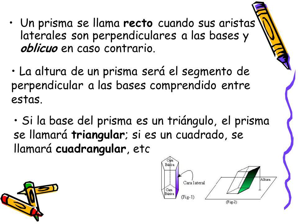 Un prisma se llama recto cuando sus aristas laterales son perpendiculares a las bases y oblicuo en caso contrario.