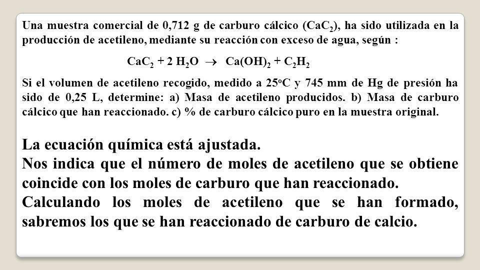 La ecuación química está ajustada.