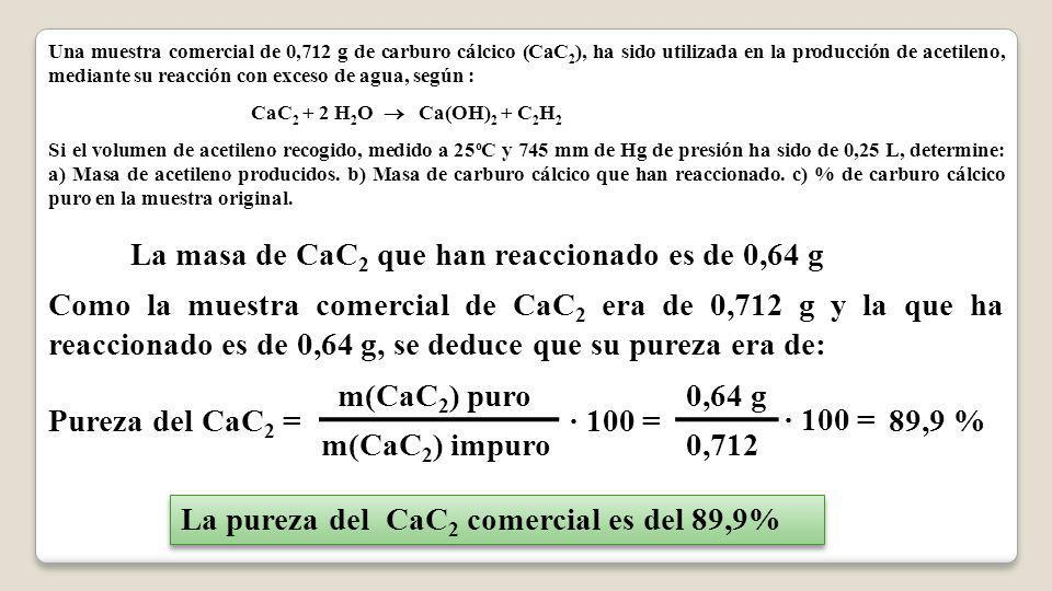 La masa de CaC2 que han reaccionado es de 0,64 g