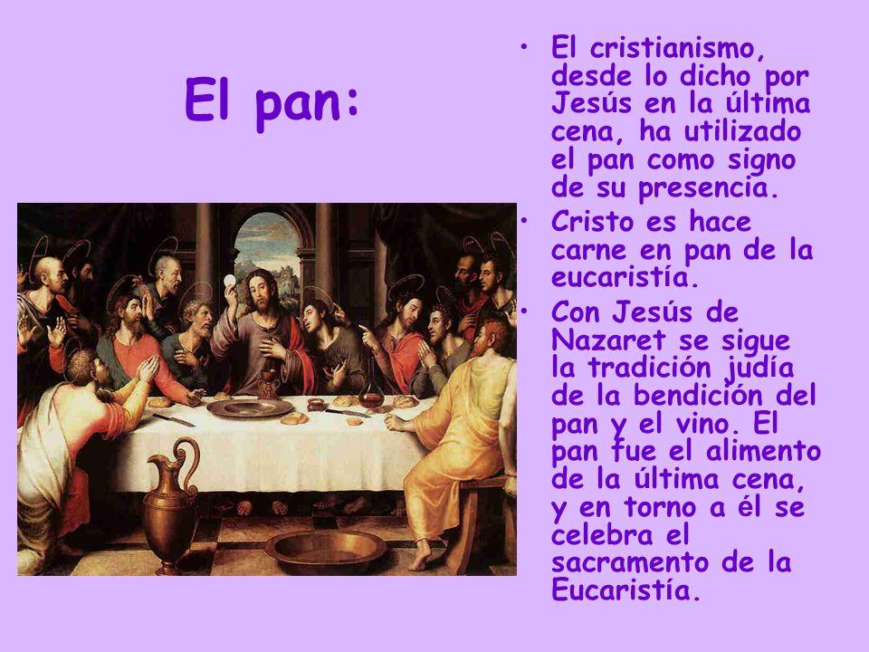 El cristianismo, desde lo dicho por Jesús en la última cena, ha utilizado el pan como signo de su presencia.