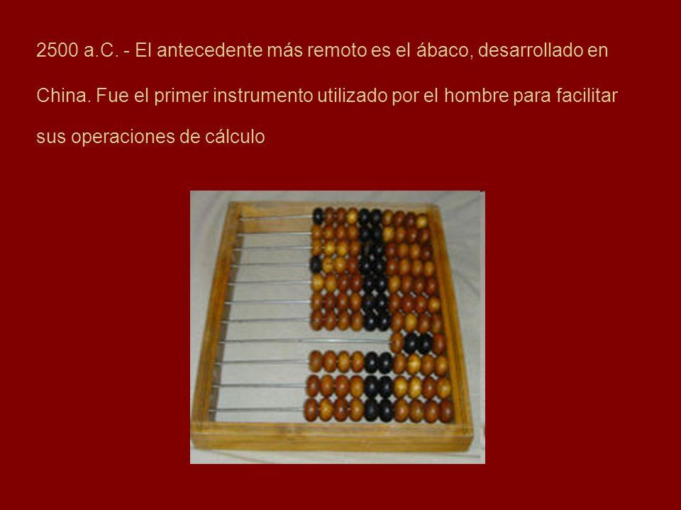 2500 a.C. - El antecedente más remoto es el ábaco, desarrollado en China.