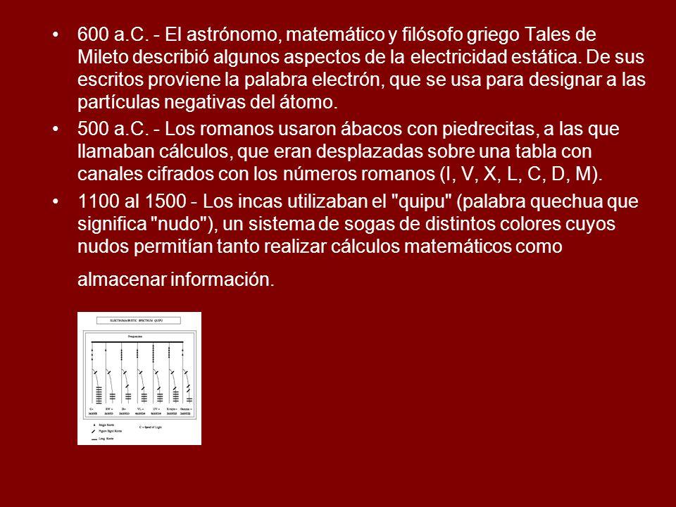 600 a.C. - El astrónomo, matemático y filósofo griego Tales de Mileto describió algunos aspectos de la electricidad estática. De sus escritos proviene la palabra electrón, que se usa para designar a las partículas negativas del átomo.