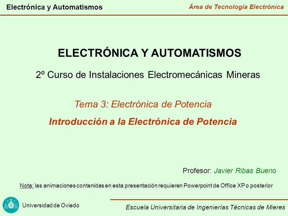 ELECTRÓNICA Y AUTOMATISMOS Introducción a la Electrónica de Potencia