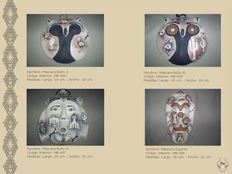 Nombre: Máscara Búho A Código Interno: MB-005. Medidas: Largo: 19 cm. | Ancho: 19 cm. Nombre: Máscara Búho B.