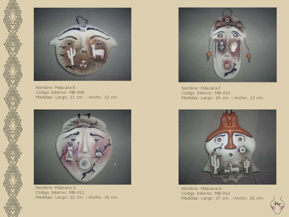 Nombre: Máscara E Código Interno: MB-009. Medidas: Largo: 11 cm. | Ancho: 12 cm. Nombre: Máscara F.