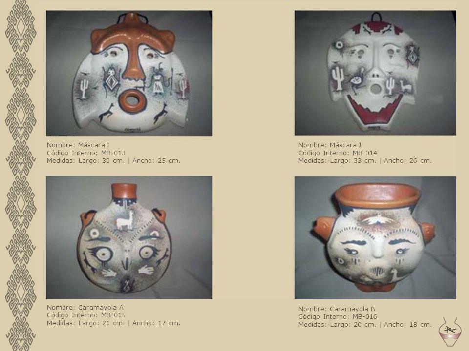 Nombre: Máscara I Código Interno: MB-013. Medidas: Largo: 30 cm. | Ancho: 25 cm. Nombre: Máscara J.