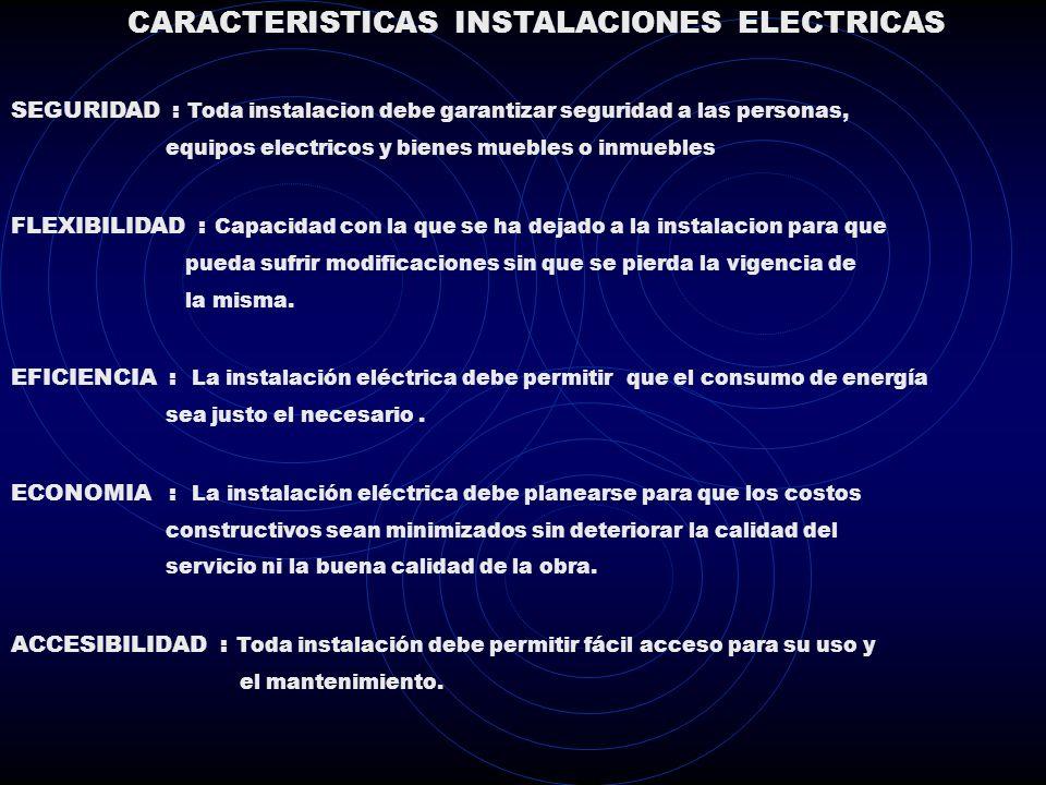 CARACTERISTICAS INSTALACIONES ELECTRICAS