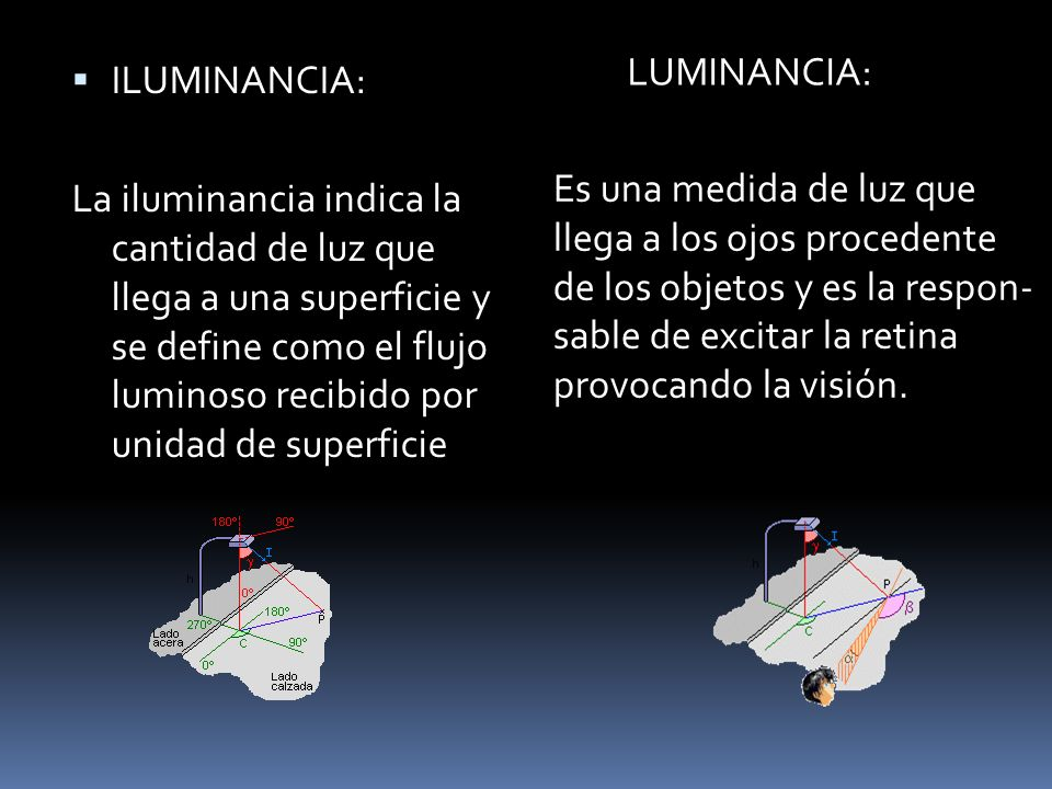 LUMINANCIA: ILUMINANCIA: