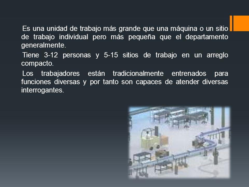 Es una unidad de trabajo más grande que una máquina o un sitio de trabajo individual pero más pequeña que el departamento generalmente.