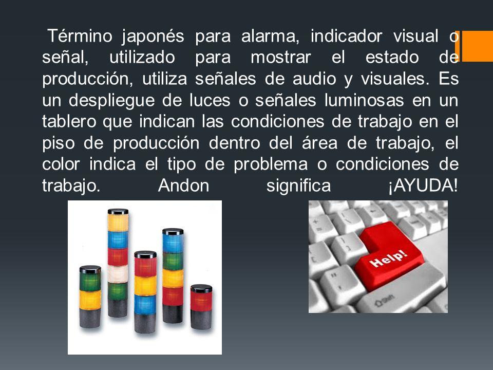 Término japonés para alarma, indicador visual o señal, utilizado para mostrar el estado de producción, utiliza señales de audio y visuales.
