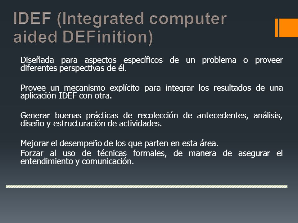 IDEF (Integrated computer aided DEFinition)