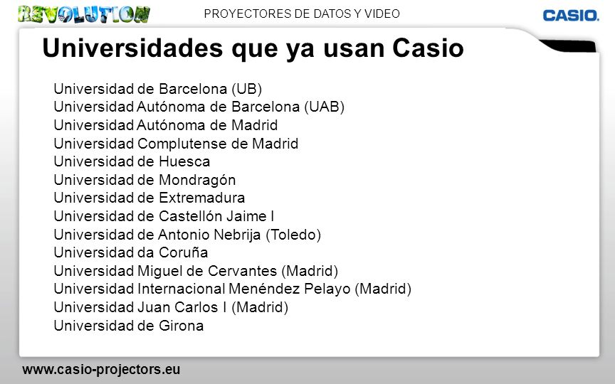 Universidades que ya usan Casio