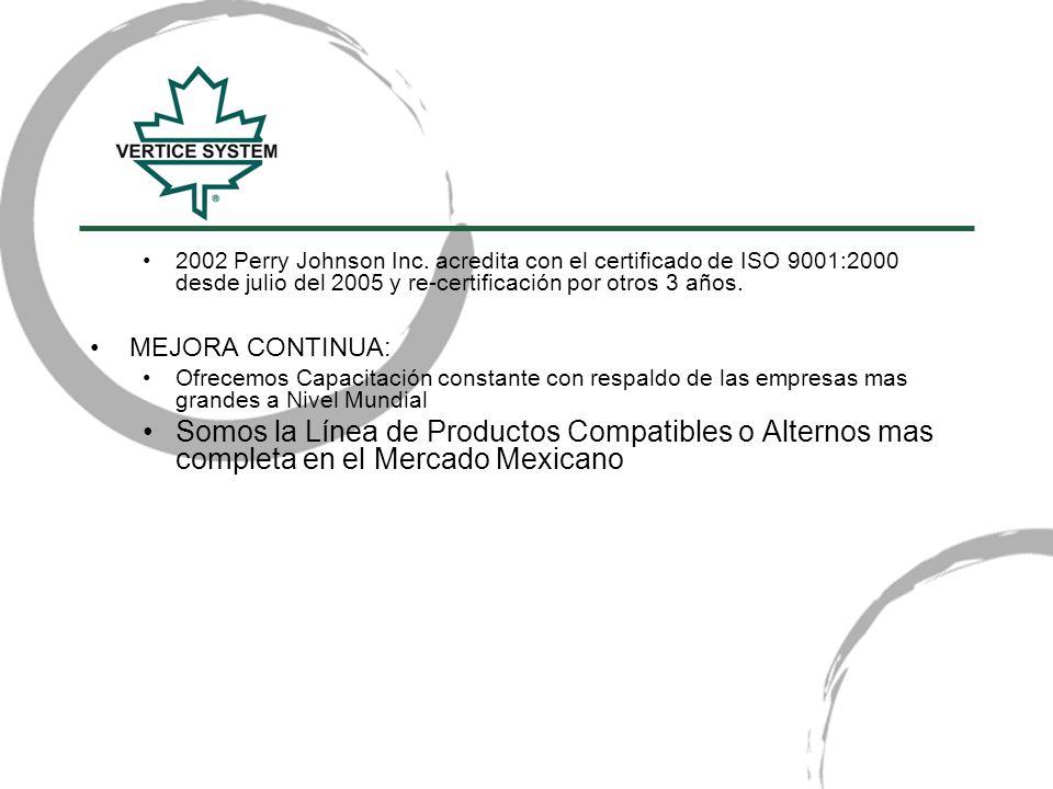 2002 Perry Johnson Inc. acredita con el certificado de ISO 9001:2000 desde julio del 2005 y re-certificación por otros 3 años.