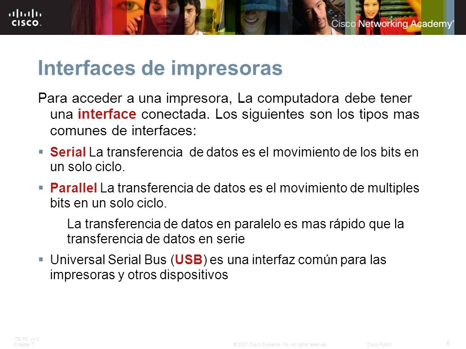 Interfaces de impresoras