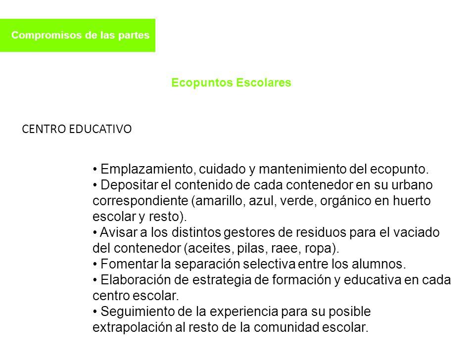 Emplazamiento, cuidado y mantenimiento del ecopunto.