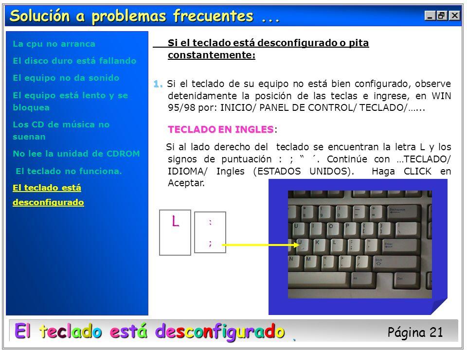 El teclado está desconfigurado Página 21