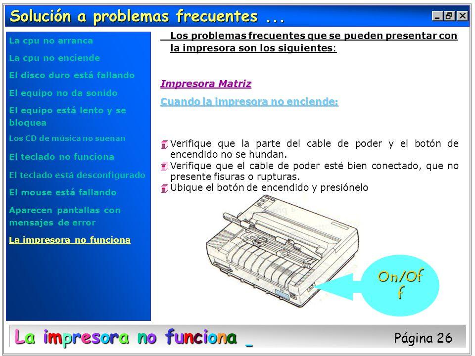 La impresora no funciona Página 26