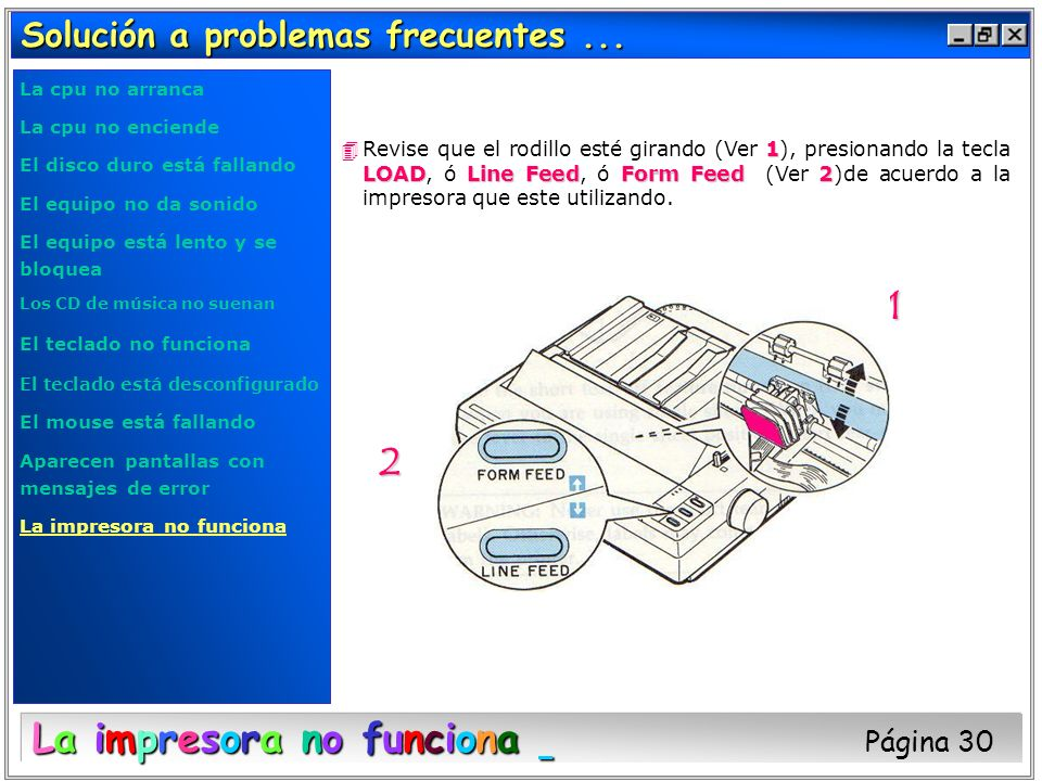 La impresora no funciona Página 30