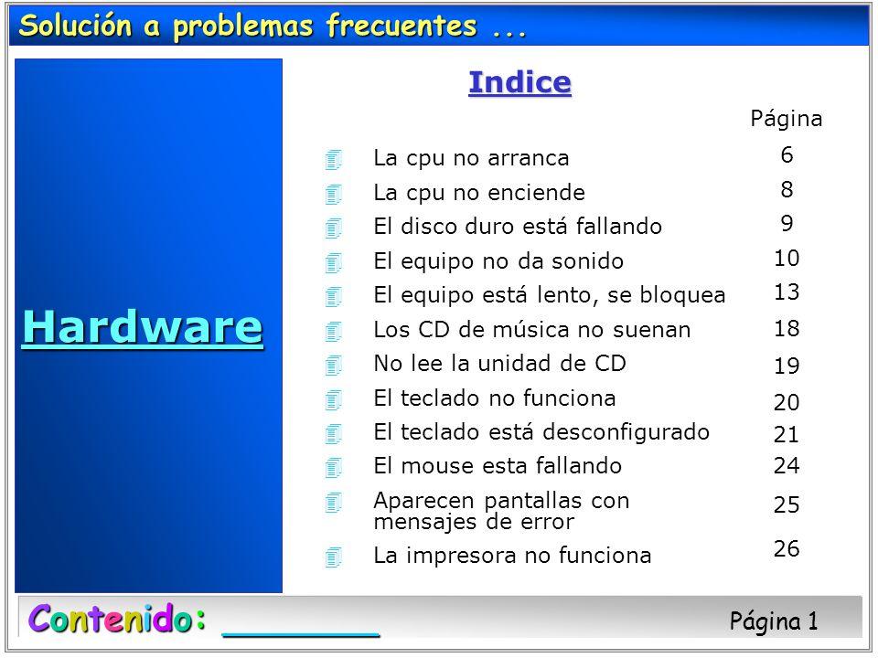 Hardware Contenido: Página 1 Solución a problemas frecuentes ...