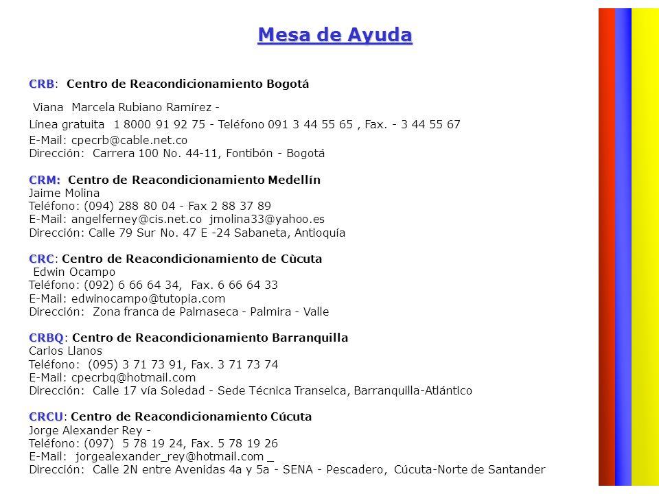 Mesa de Ayuda CRB: Centro de Reacondicionamiento Bogotá