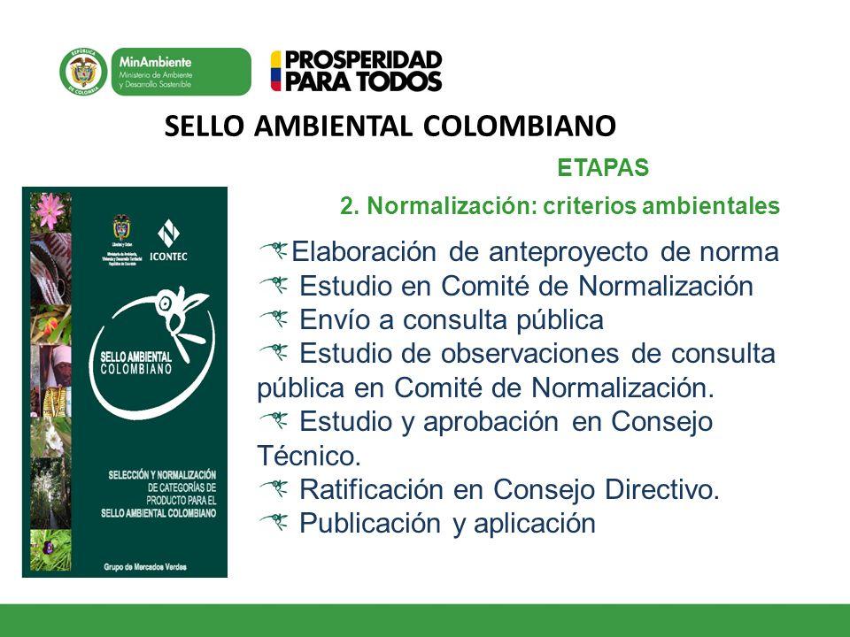 SELLO AMBIENTAL COLOMBIANO 1 2. Normalización: criterios ambientales