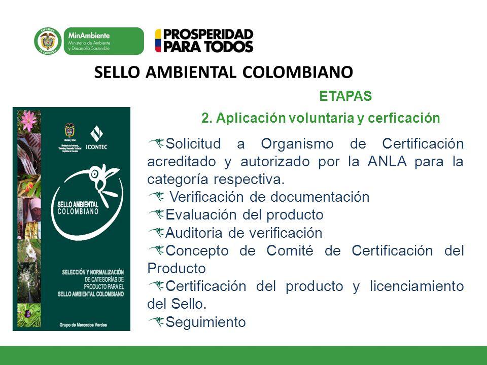 SELLO AMBIENTAL COLOMBIANO 1 2. Aplicación voluntaria y cerficación