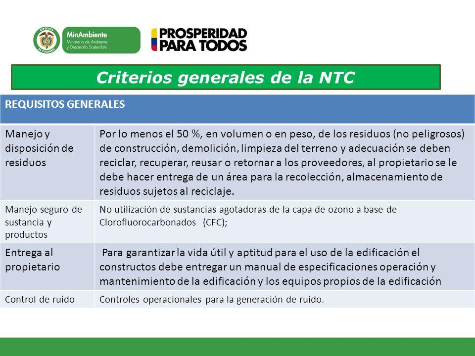 Criterios generales de la NTC