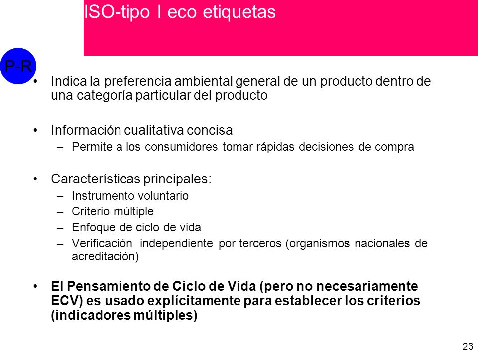 ISO-tipo I eco etiquetas
