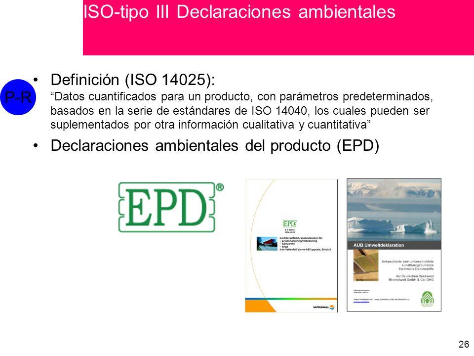 ISO-tipo III Declaraciones ambientales