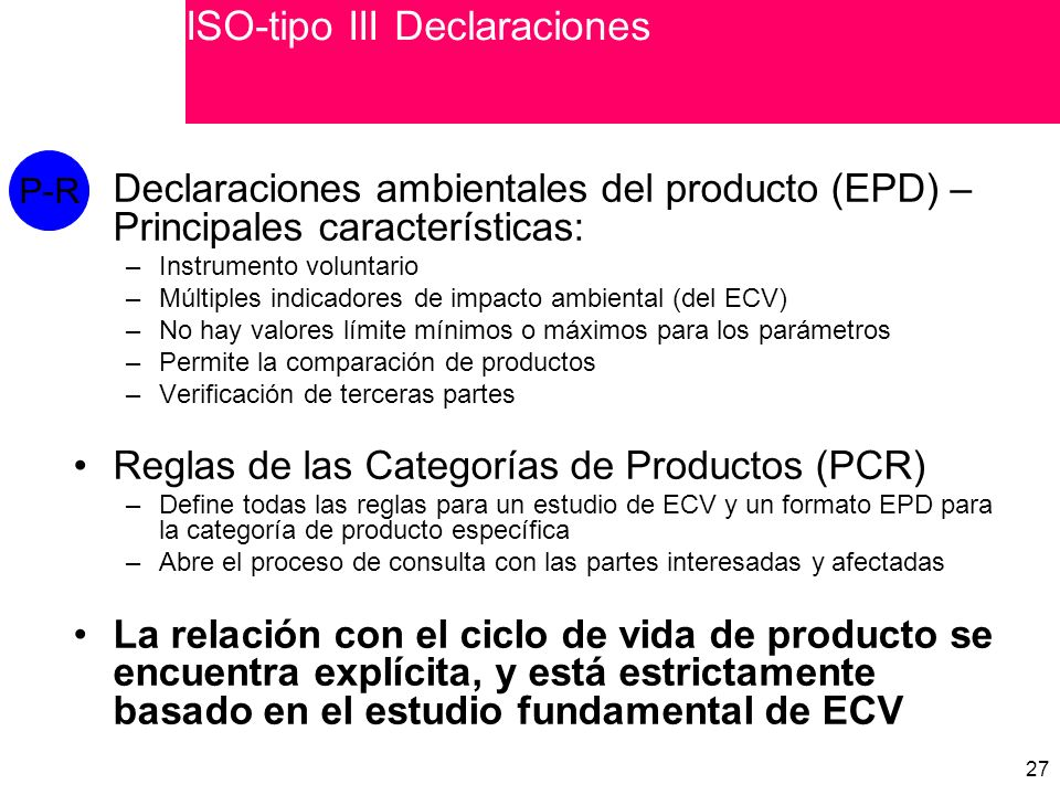 ISO-tipo III Declaraciones