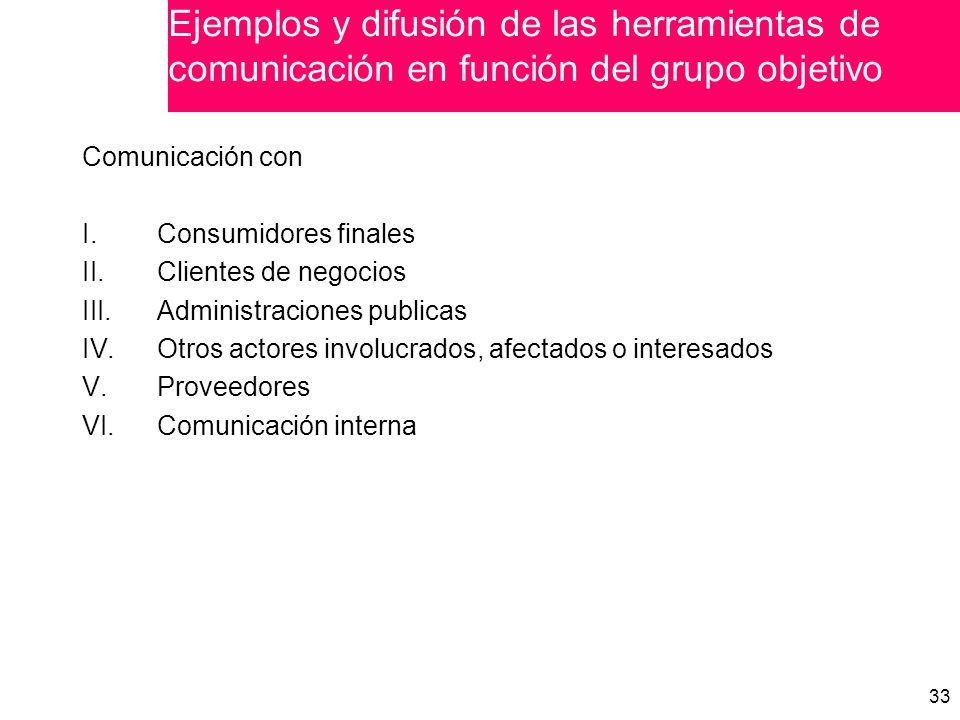 Ejemplos y difusión de las herramientas de comunicación en función del grupo objetivo