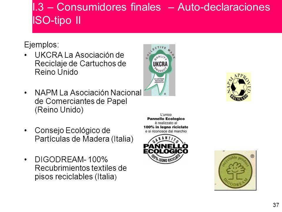I.3 – Consumidores finales – Auto-declaraciones ISO-tipo II