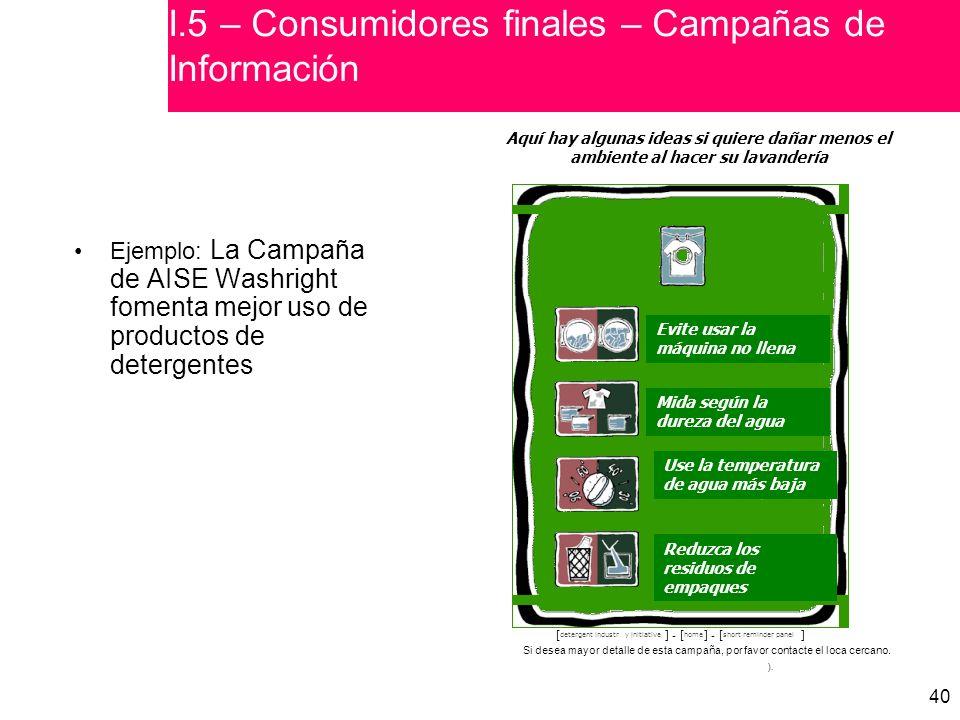 I.5 – Consumidores finales – Campañas de Información