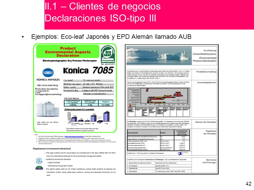 II.1 – Clientes de negocios Declaraciones ISO-tipo III