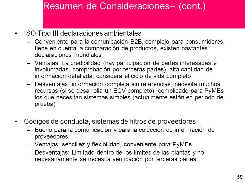 Resumen de Consideraciones– (cont.)