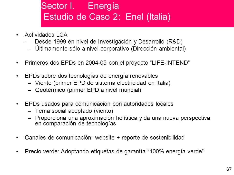 Sector I. Energía Estudio de Caso 2: Enel (Italia)