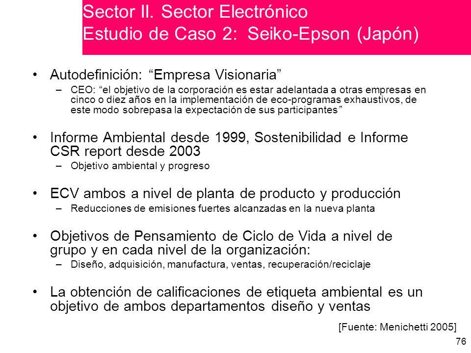 Sector II. Sector Electrónico Estudio de Caso 2: Seiko-Epson (Japón)