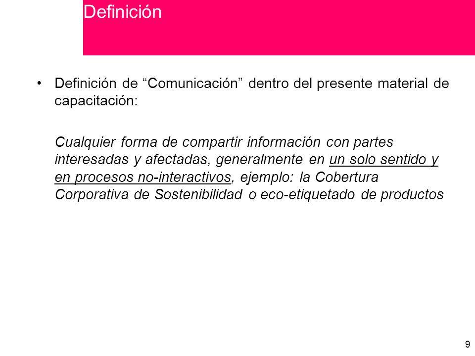 Definición Definición de Comunicación dentro del presente material de capacitación: