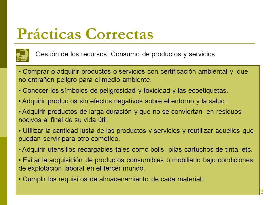 Prácticas Correctas Gestión de los recursos: Consumo de productos y servicios.