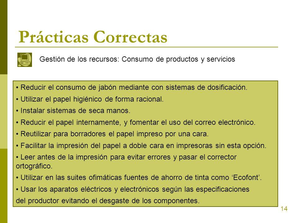 Prácticas Correctas Gestión de los recursos: Consumo de productos y servicios. Reducir el consumo de jabón mediante con sistemas de dosificación.