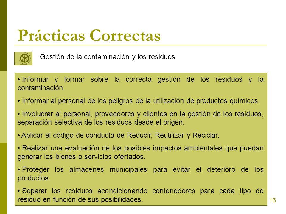 Prácticas Correctas Gestión de la contaminación y los residuos