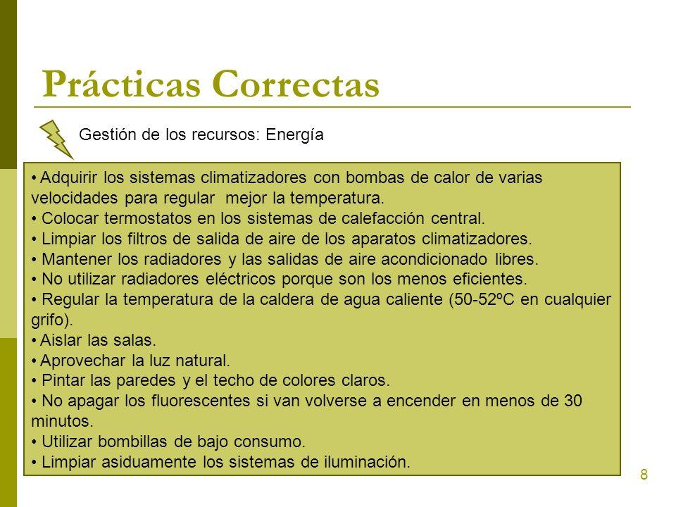 Prácticas Correctas Gestión de los recursos: Energía