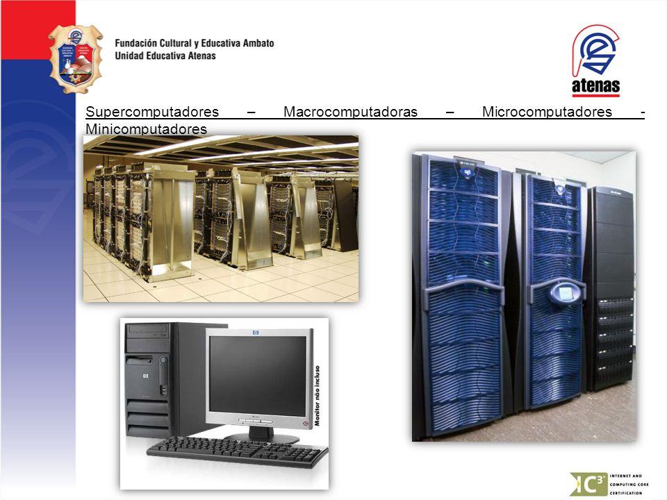 Supercomputadores – Macrocomputadoras – Microcomputadores - Minicomputadores