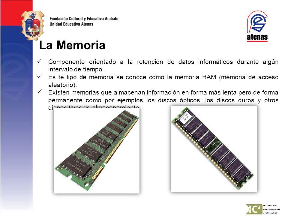 La Memoria Componente orientado a la retención de datos informáticos durante algún intervalo de tiempo.