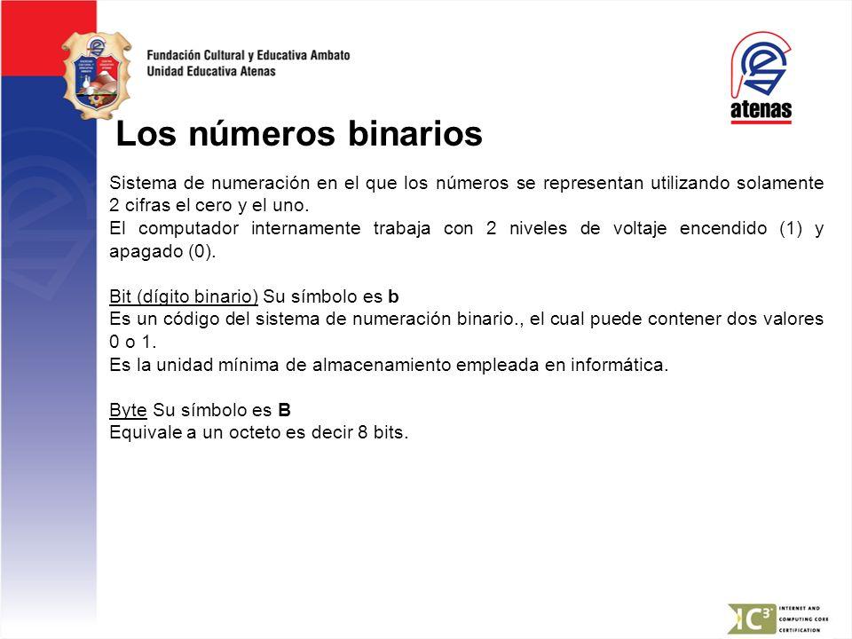Los números binarios Sistema de numeración en el que los números se representan utilizando solamente 2 cifras el cero y el uno.