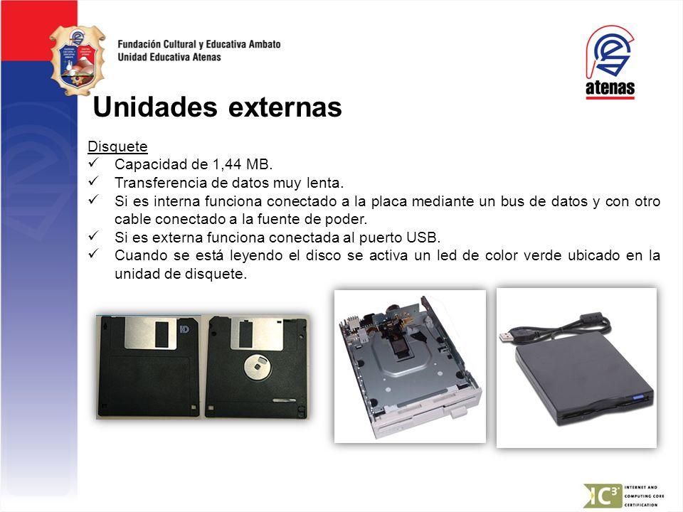 Unidades externas Disquete Capacidad de 1,44 MB.