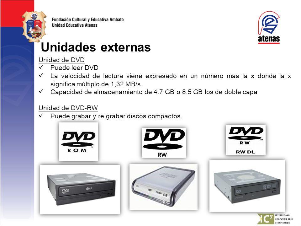 Unidades externas Unidad de DVD Puede leer DVD